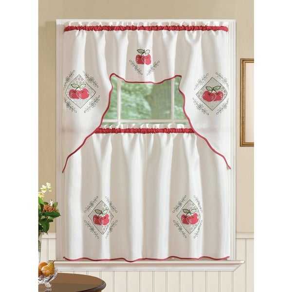 RT Designer's Collection Imperial Red Apple Jacquard Tier and Valance Kitchen Curtain Set 28520134