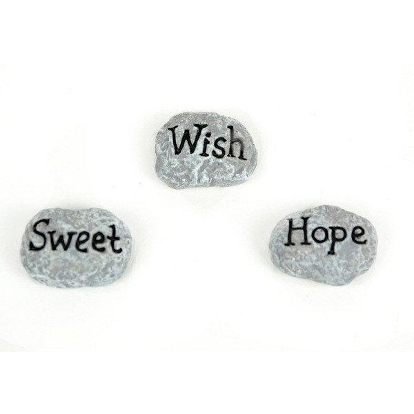 Fairy Garden Sweet/Hope/Wish Garden Rocks 3/Pkg 28524078