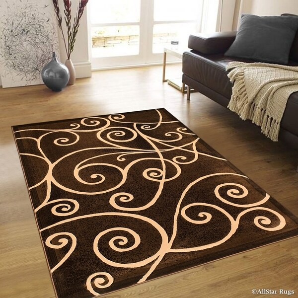 "Allstar Chocolate Modern Distressed Traditional Design Rug (7' 10"" X 10' 2"") (As Is Item) 31108553"