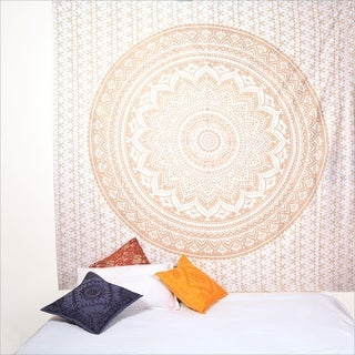 Bohemian Mandala Tapestry Wall Hanging Indian Gold Throw