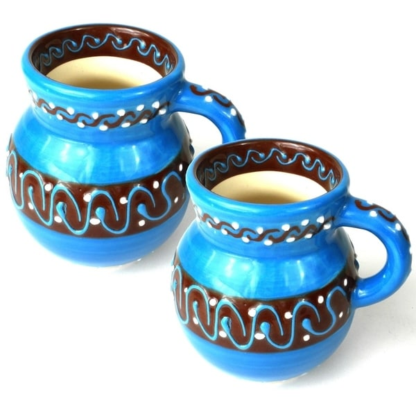 Set of Two Handmade Beaker Cups - Azure Blue (Mexico) 28551784