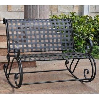 International Caravan Lattice Iron Double Rocker Bench