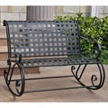 International Caravan Lattice Iron Double Rocker Bench