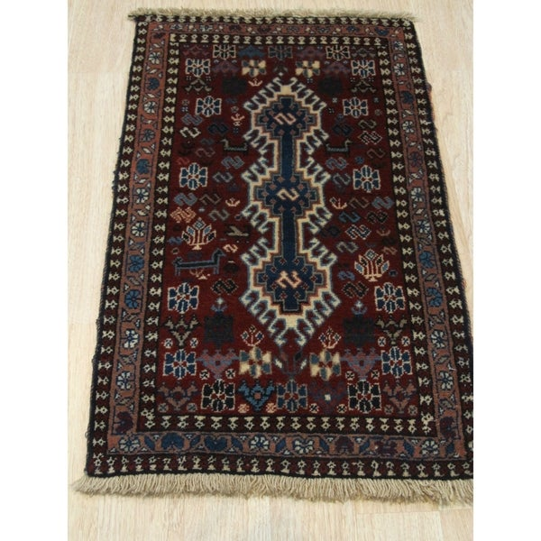 Hand-knotted Wool Rust Traditional Geometric Yalameh Rug (1' 8 x 2'11) - 1' 8 x 2'11 28583780