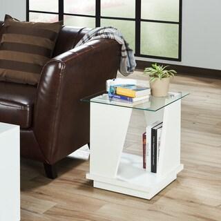 Furniture of America Keas Modern Glass Top Storage End Table