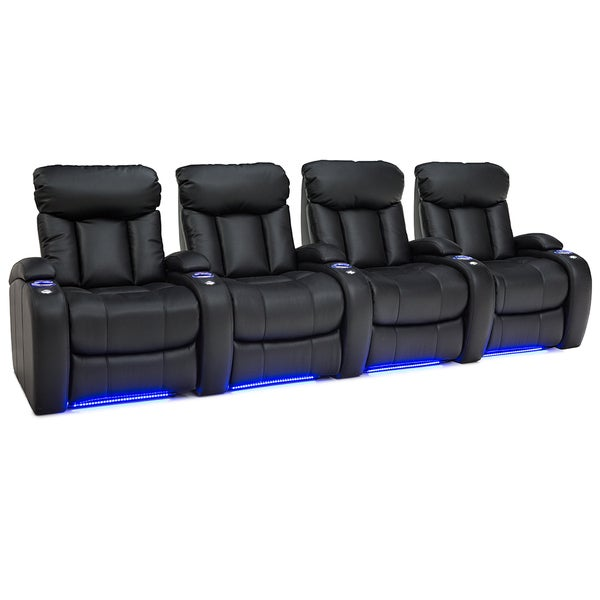 Seatcraft Orleans Black Leather Home Theater 4-seat Power Recliner 28626696