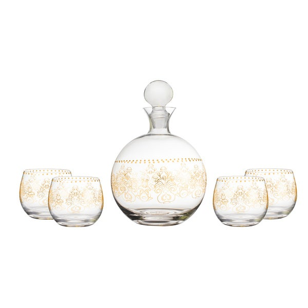 Lace Gold 5 PC Decanter Set 28626770