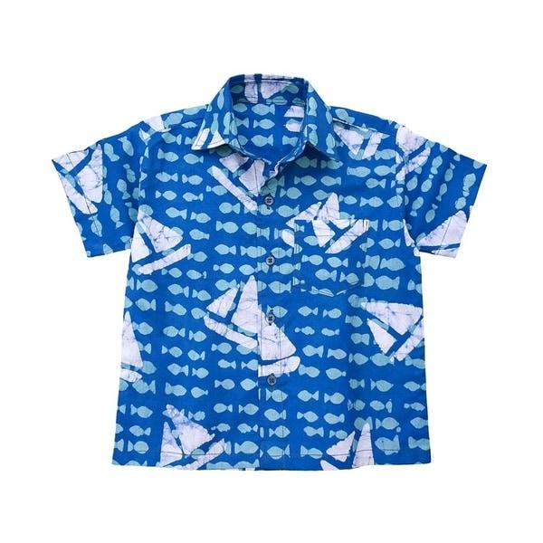 Hand Batiked Boys Button Down Shirt - Sailing Blue (Ghana) 28628774