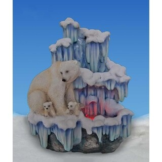 SINTECHNO SNF12076-3 Artistic Mother Polar Bear with Her Cubs on Iceberg Tabletop Water Fountain