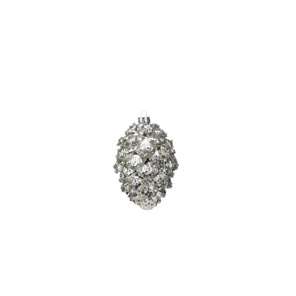 Hanging Holiday Pinecone Christmas Ornament, Silver (Set of 6) 28670055