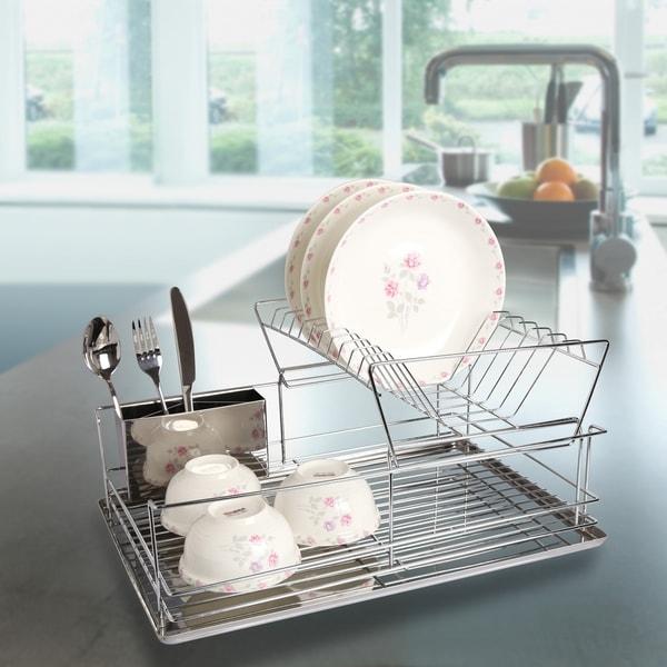 Modern Kitchen Stainless Steel 2-Tier Dish Drying Rack and Draining Board - Organized Utensil Holder  Mug Dryer - Silver 28670067