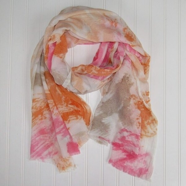 """Tickled Pink Vibrant Watercolor Scarf - 30 x 70"""", Orange 28671668"""