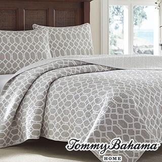 Tommy Bahama Catalina Trellis Grey Reversible 3-piece Cotton Quilt Set