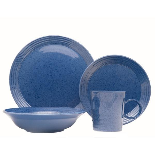 Red Vanilla Terrastone Blue Stoneware 16-piece Dinner Set (Service for four) 28689864