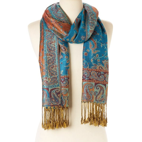Elegantly Printed Designer Ladies Silk Metallic Blend soft Pashmina Scarf Wrap Shawl (Blue Orange)  - Large 28706210