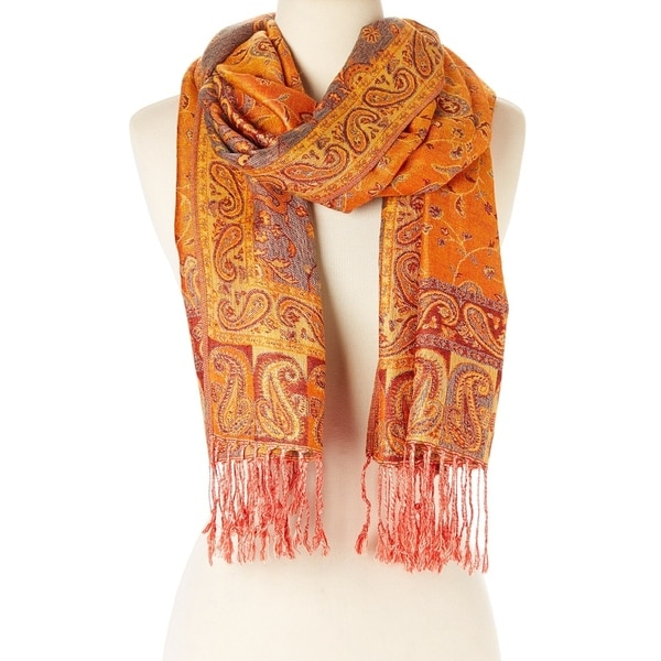 Elegantly Printed Designer Ladies Silk Metallic Blend soft Pashmina Scarf Wrap Shawl (Orange)  - Large 28706212
