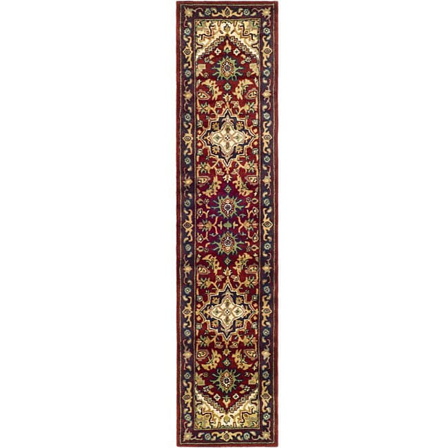 Safavieh Handmade Heritage Heriz Red/ Navy Wool Runner (2'3 x 8')