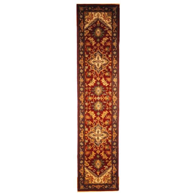 Safavieh Handmade Heritage Heriz Red/ Navy Wool Runner (2'3 x 10')