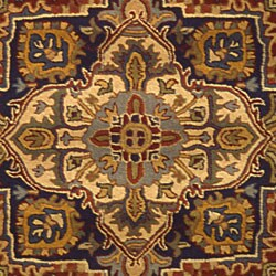 Safavieh Handmade Heritage Heriz Red/ Navy Wool Rug (5' x 8')