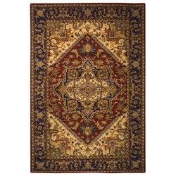 Handmade Heritage Heriz Red/ Navy Wool Rug (5' x 8')