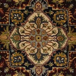 Handmade Heritage Heriz Red/ Navy Wool Rug (6' x 9')