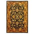 Handmade Heritage Kashan Dark Green/ Gold Wool Rug (4' x 6')