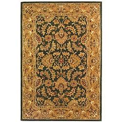 Handmade Heritage Kashan Dark Green/ Gold Wool Rug (6' x 9')