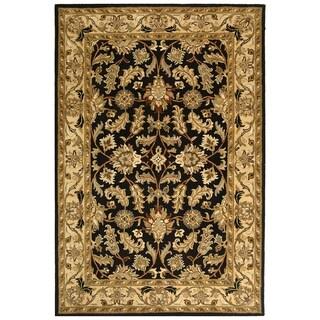 Handmade Heritage Kashan Black/ Beige Wool Rug (4' x 6')