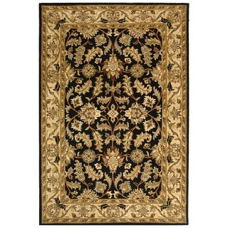 Handmade Heritage Kashan Black/ Beige Wool Rug (5'x8')