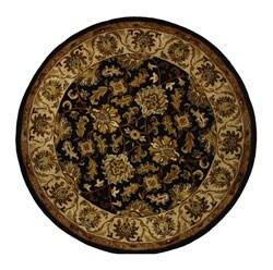 Safavieh Handmade Heritage Kashan Black/ Beige Wool Rug (6' Round)
