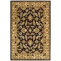 Handmade Heritage Kashan Black/ Beige Wool Rug (6' x 9')