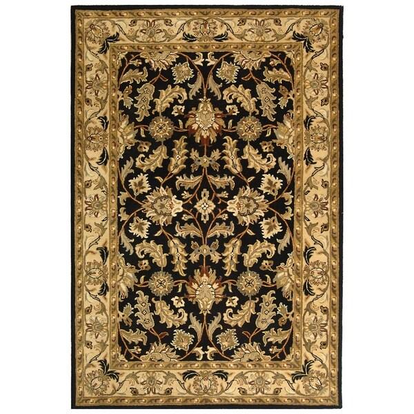 Safavieh Handmade Heritage Kashan Black/ Beige Wool Rug (6' x 9')