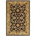 Handmade Heritage Kashan Black/ Beige Wool Rug (7'6 x 9'6)