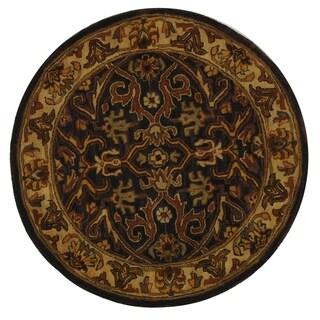 Safavieh Handmade Sultanabad Charcoal Grey/ Ivory Wool Rug (6' Round)