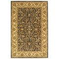Handmade Sultanabad Charcoal Grey/ Ivory Wool Rug (6'x9')