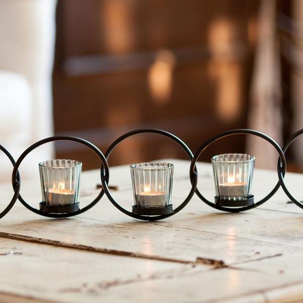 Danya B Black Iron/ Glass 5-ring Interlocking Votive Candleholder 28724638