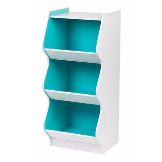 IRIS 3-tier White and Blue Curved Edge Storage Shelf
