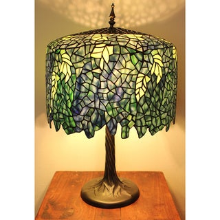 Blue Wisteria Tiffany Style Lamp w/ Tree Trunk Base