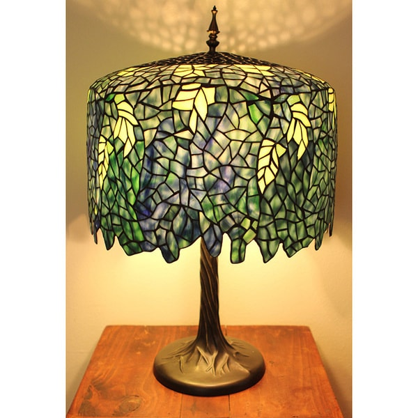 Blue Wisteria Tiffany Style Lamp W Tree Trunk Base