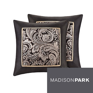Madison Park Wellington Jacquard Square 20-inch Throw Pillow (Set of 2)