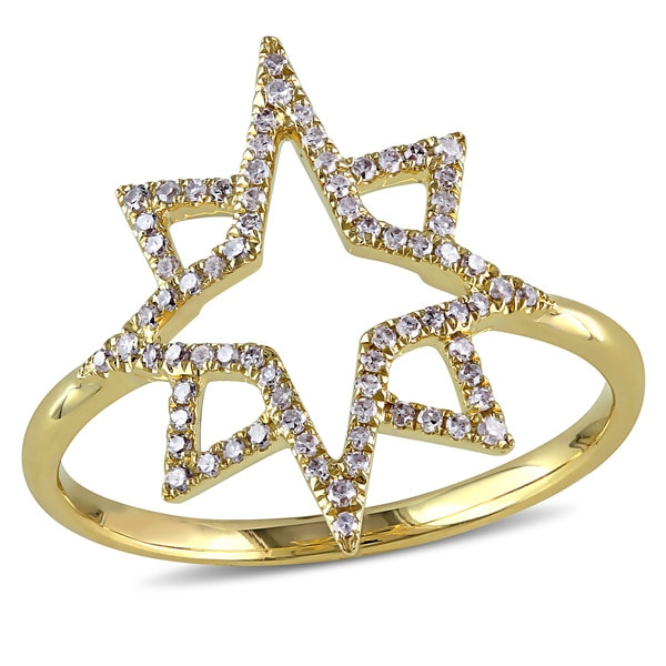 Miadora Signature Collection 14k Yellow Gold 1/5ct TDW Diamond North Star Geometric Ring 28776097
