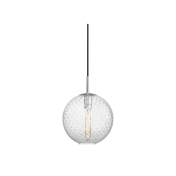 Hudson Valley Rousseau Polished Chrome-finished Metal Medium Single-light Pendant with Clear Glass Shade 28776960