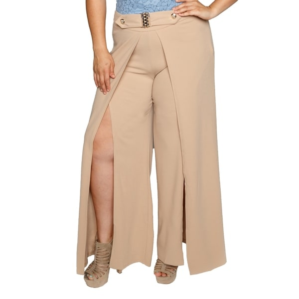 Xehar Womens Plus Size Flowy High Slit Layered Wide Leg Pants 28778940