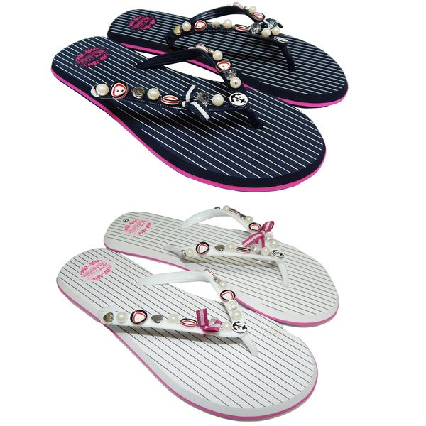 Ladies Striped Beads & Buttons Flip-Flops 28779046
