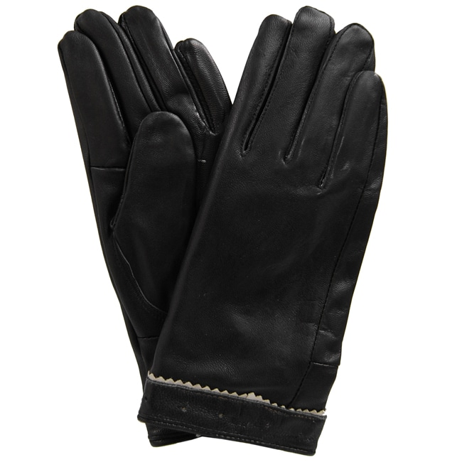 Adi Designs Zig-Zag Wrist Pattern Lambskin Leather Black Gloves