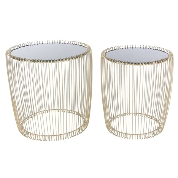Studio 350 Metal Glass Accent Table Set of 2, 17 inches, 18 inches high 28781665