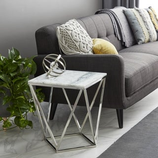 Modern 21 x 18 Inch Square Marble and Metal Accent Table by Studio 350