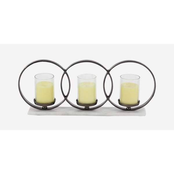 Oliver & James Buri Aluminum and Marble Triple Candle Holder 28783151