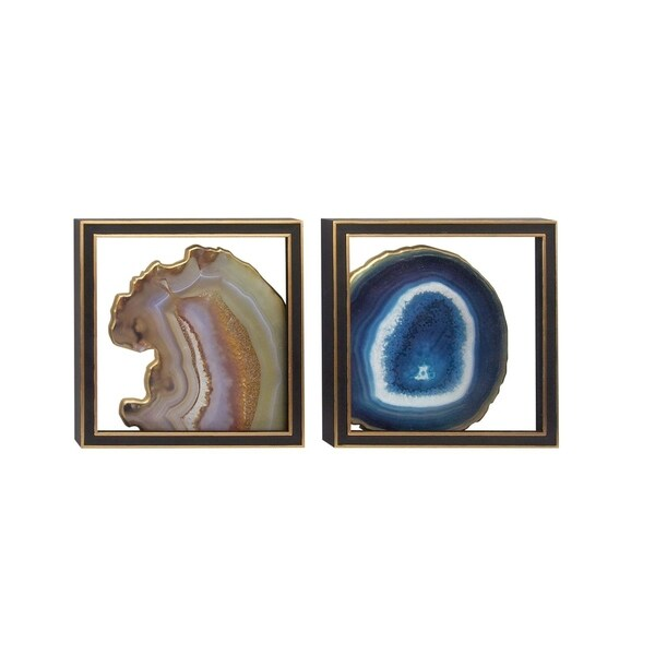 Studio 350 Wood Glass Wall Decor Set of 2, 15 inches wide, 15 inches high 28783415