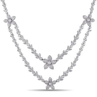 Miadora Signature Collection 18k Gold 5 1/3ct TDW Diamond Double Strand Necklace